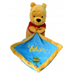 Doudou mouchoir bleu Winnie l'Ourson Disney