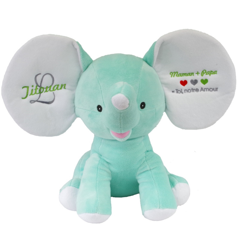 peluche elephant vert menthe 30cm personnalis ourson c lin. Black Bedroom Furniture Sets. Home Design Ideas