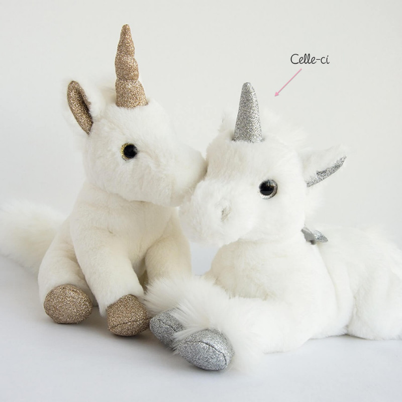 peluche licorne argent e glitter histoire d 39 ours ourson c lin. Black Bedroom Furniture Sets. Home Design Ideas