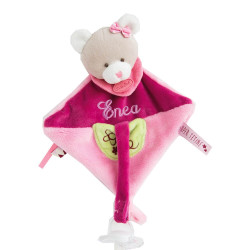 Doudou attache tétine - Ours Rose