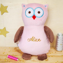 Hibou « Hooty Loo » rose ourson calin