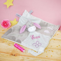 Doudou Bourriquet Floppy et attache tétine