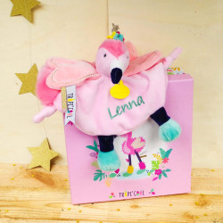 Doudou plat Flamant rose - Tropi'cool