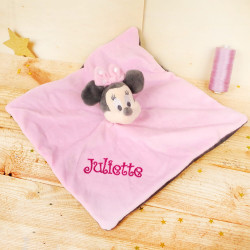 Doudou plat Minnie Rose et gris