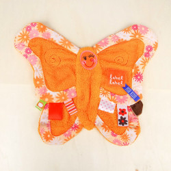 Doudou plat Papillon Orange