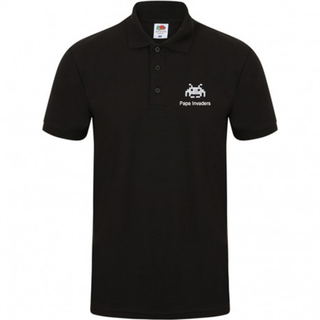 Polo noir Homme - Papa Invaders