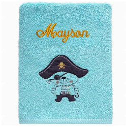 Serviette Ours Pirate turquoise Personnalisée