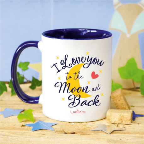 Mug Marine I Love You to the Moon and Back personnalisé