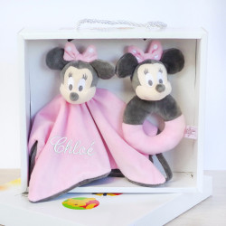 Coffret doudou plat Minnie Rose et son Hochet