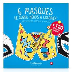 "Pochette de 6 masques à colorier ""Super héros"" avec + de 120 stickers"