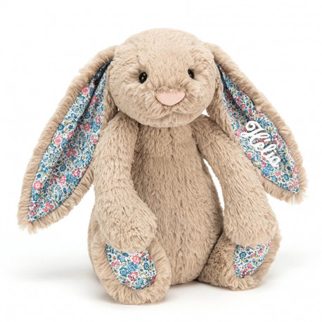 Peluche Lapin Taupe Liberty personnalisée
