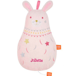 Peluche musicale Dounimaux Lapin Rose personnalisée