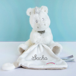 Doudou Magic Licorne Grise et son mouchoir