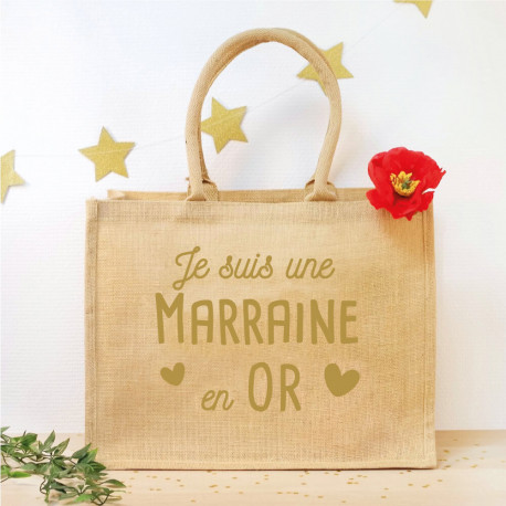 Panier adulte en jute - Marraine en OR