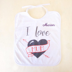"Lot de 2 bavoirs ""I love Mum"""