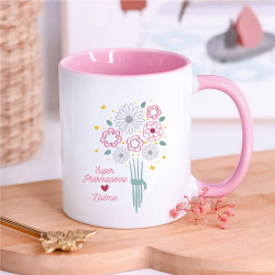 Mug rose bouquet personnalisé - Super Pharmacienne
