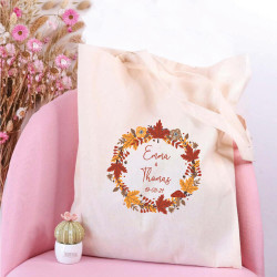 Tote bag mariage personnalisé - Mariage Automnal