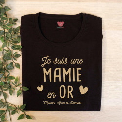 "T-shirt noir personnalisé - Collection ""en OR"""