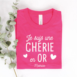 "T-shirt Fuchsia femme personnalisé - Collection ""en OR"""
