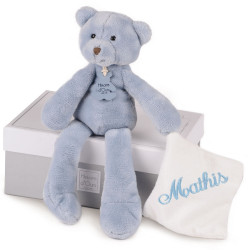 Peluche Pantin Sweety Ours bleu