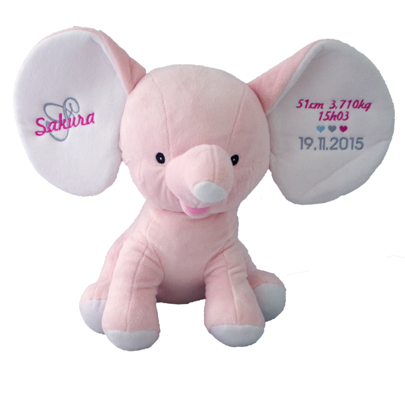 peluche elephant rose clair 30cm personnalis ourson c lin. Black Bedroom Furniture Sets. Home Design Ideas