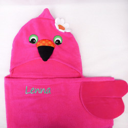 Cape de bain avec capuche Flamand rose