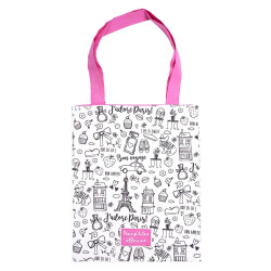 Tote Bag à colorier Parisienne Rose