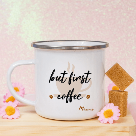 Mug vintage But first coffee personnalisé