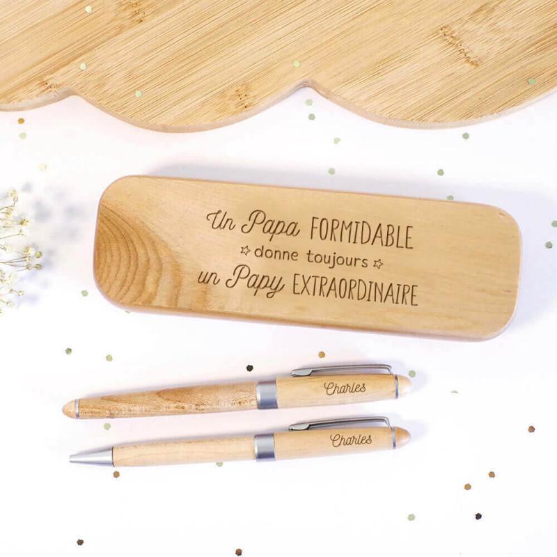Coffret en bois avec stylos Papy extraordinaire